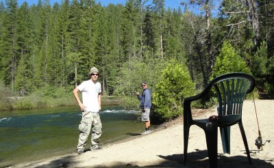 riverbank fishing trout